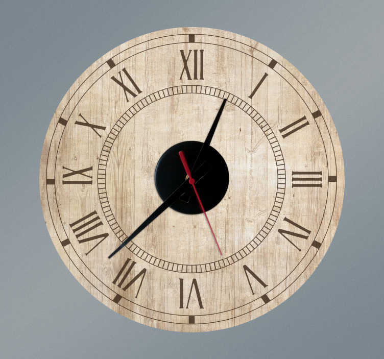 TenStickers. Klok muursticker vintage hout. Geef uw huis een elegante uitstraling met een klok sticker met oude houtstructuur en de wijzerplaat van een Romeinse cijferklok, in klassieke stijl.