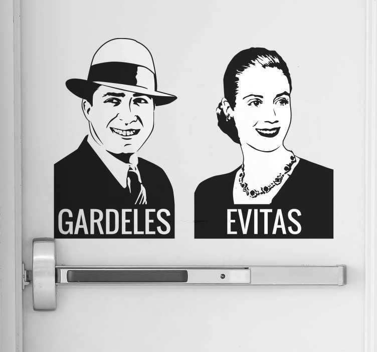 TenVinilo. Vinilo señal lavabo Argentina. Vinilos para puertas de aseos con la representación de dos de las figuras más importantes de la cultura y la política argentina.