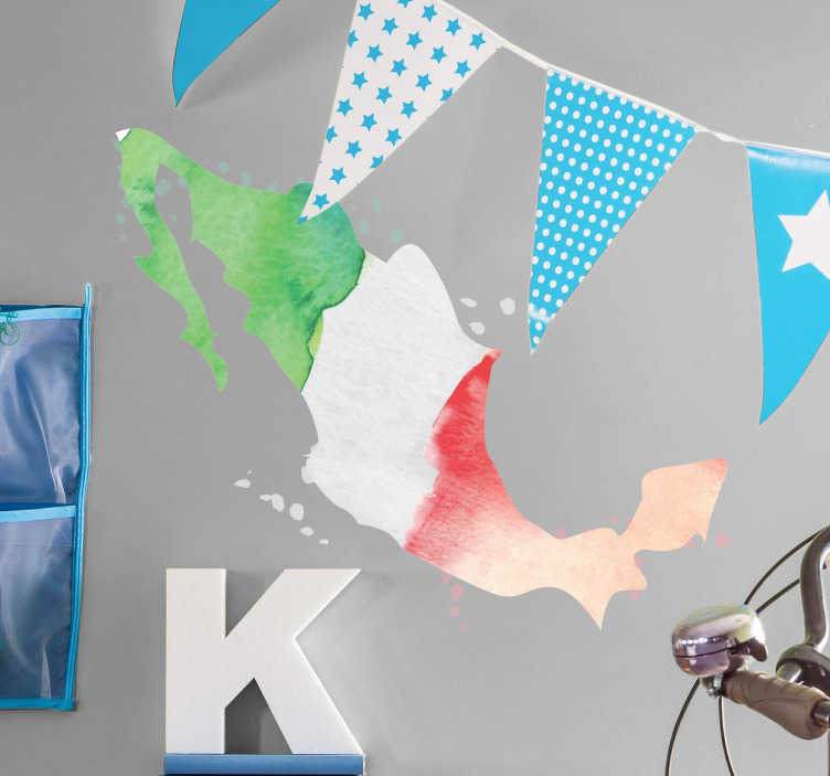TENSTICKERS. プロファイルメキシコフラグデカール. 平らな壁のスペースを飾るためのプロファイルメキシコフラグステッカー。デザインは抽象的な魚のスタイルで作成されたメキシコの旗の色です。