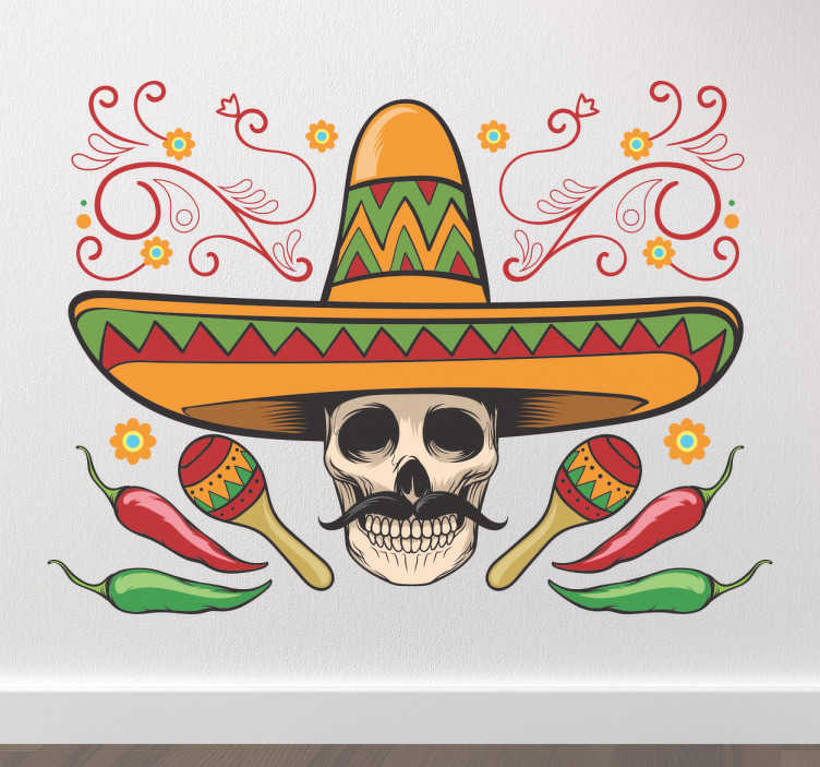 TenVinilo. Vinilos México cinco de mayo. Celebra la fiesta nacionall Mexicana por excelencia con un vinilo decorativo muy especial con el dibujo de una calavera mariachi.