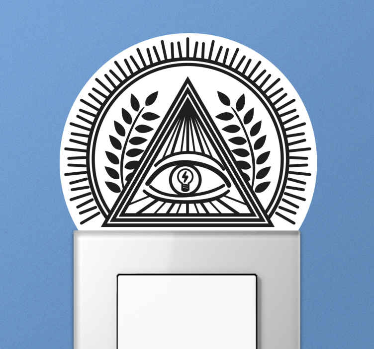 TenVinilo. Adhesivo interruptor ojo luz. Vinilo interruptor con la imagen del Ojo de la Providencia, también conocido como Delta Luminoso, en cuyo iris se encuentra una bombilla.