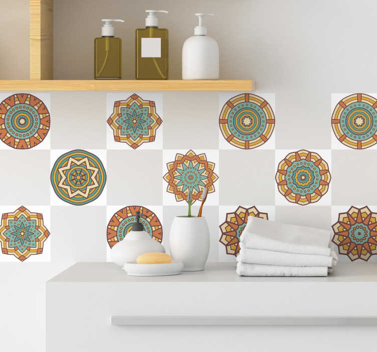 TenStickers. Vinil decorativo azulejo calendoscópio. Decore as suas paredes com este autocolante decorativo azulejo caleidoscópio, para dar outras cores à tua casa e alegrá-la um pouco.
