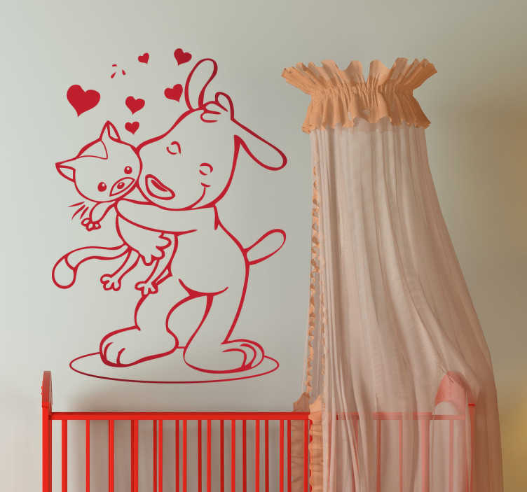 TenStickers. Naklejka dla dzieci przyjaźń. Pozytywna naklejka na ścianę przedstawiająca przytulonego psa i kota. Przyjaźń nie zna granic i jest możliwa mimo wielkich różnic.