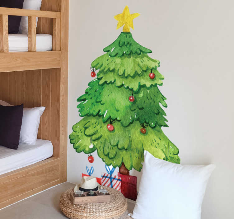 TenStickers. Christmas tree and gifts christmas wall sticker. It's the traditional scene, an Christmas tree decorated with baubles and a star, with gifts around it! Recreate it with this Christmas sticker?
