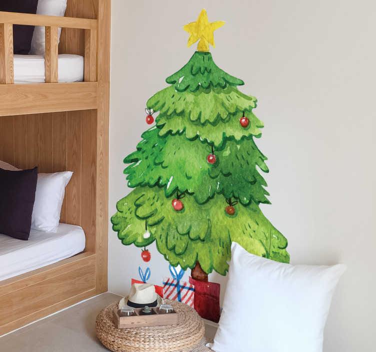 TenVinilo. Vinilo decorativo Navidad árbol y regalos. Vinilos decoración Navidad con la ilustración de un abeto decorado con elementos característicos de estas fiestas y en la base cajas de regalos.