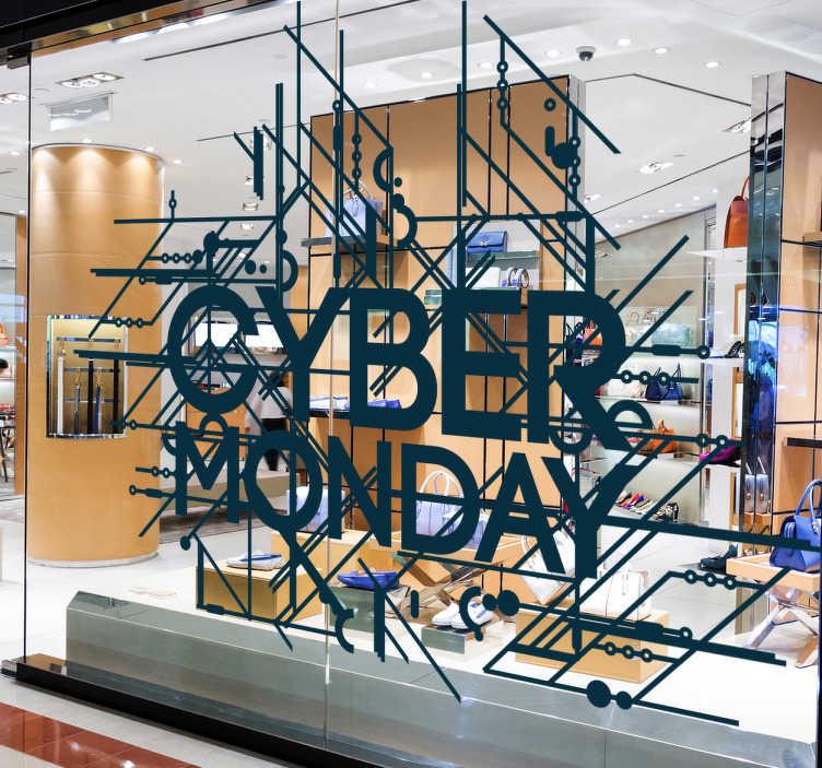 Tenstickers. Cyber Monday sisustustarra. Cyber Monday sisustustarra. Tyylikäs viivoin koristeltu tarra näyteikkunaan mainostamaan Cyber Mondayn tarjouksia asiakkaillesi.