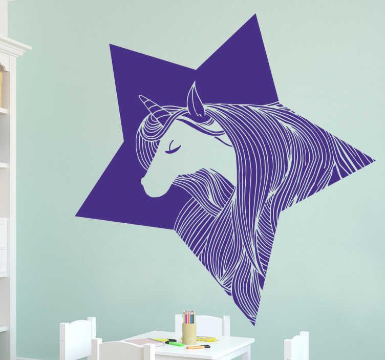 TenStickers. Muursticker eenhoorn ster. Decoratieve muursticker voor kinderen met de afbeelding van een eenhoorn die in een ster is ingelijst. Wanddecoratie waar kinderen van zullen houden.