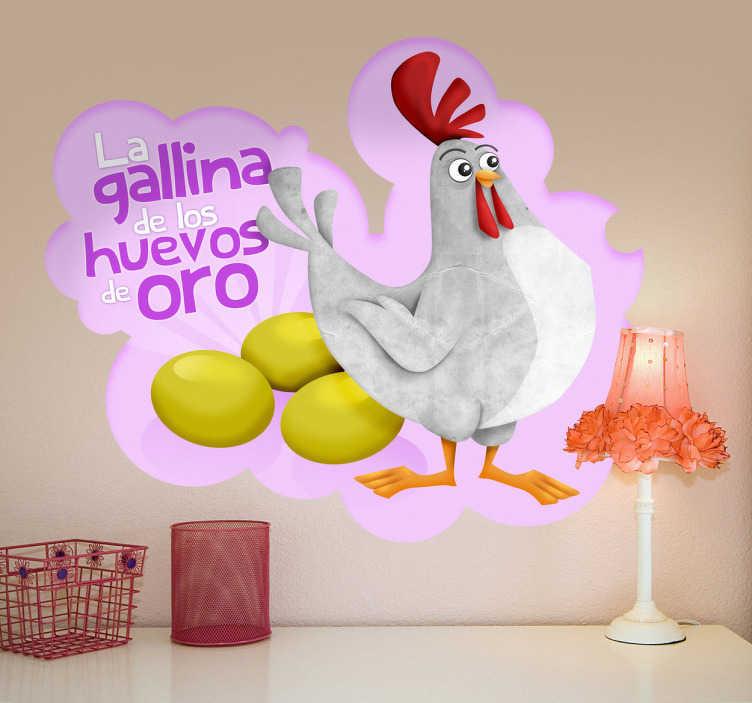TenVinilo. Vinilo gallina huevos de oro texto. Ilustración de la gallina de los huevos de oro con mirada orgullosa al lado de sus huevos.