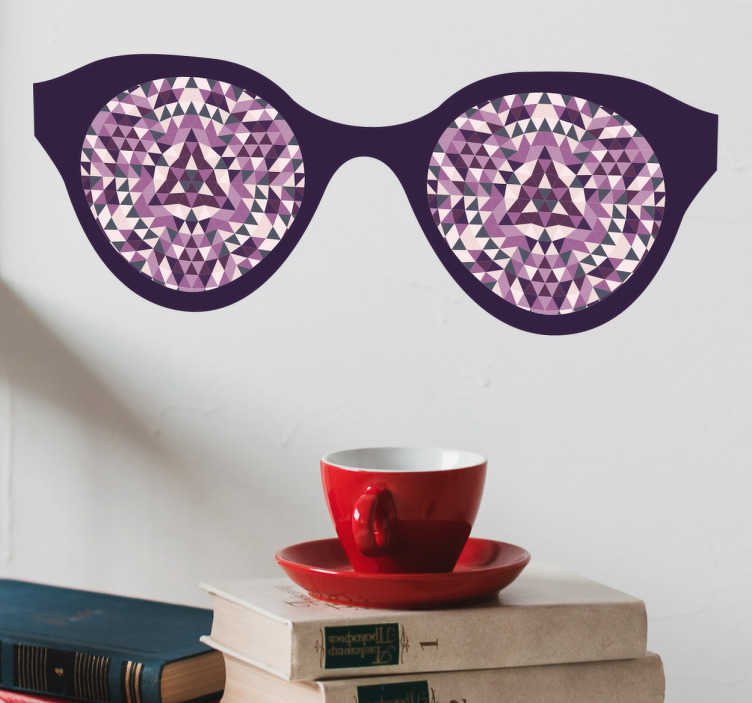 TenStickers. Occhiali adesivi psichedelici. Sticker murale con il disegno di occhiali le cui lenti sono tracciate con una struttura geometrica psichedelica, ideali per un design ultra moderno