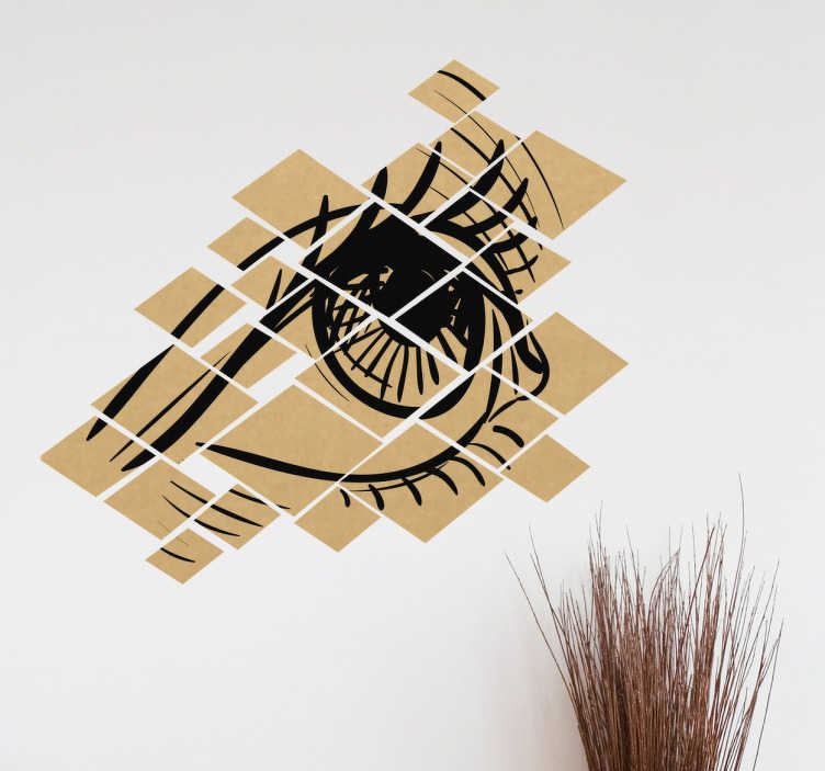 TenStickers. Muursticker oog gefragmenteerd. Een afbeelding van een oog gefragmenteerd in vierkanten van bruine tinten. Artistieke en mysterieuze muursticker, alsook rustgevend.