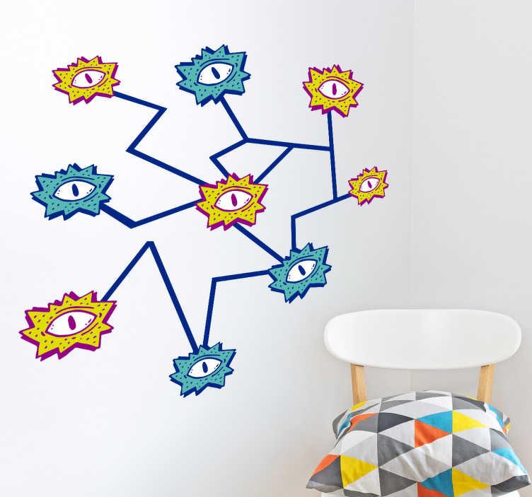 TenStickers. Sticker mural dessins d'yeux. Autocollant mural représentant plusieurs yeux reliés par des lignes irrégulières. Pour un design moderne et original. Application Facile.