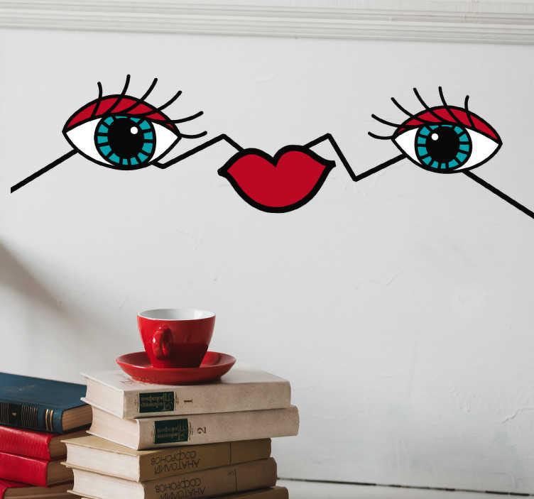 TenStickers. Sticker occhi e labbra. Adesivo decorativo murale  dallo stile ultramoderno raffigurante due occhi azzurri collegati da linee irregolari a una carnosa bocca rossa