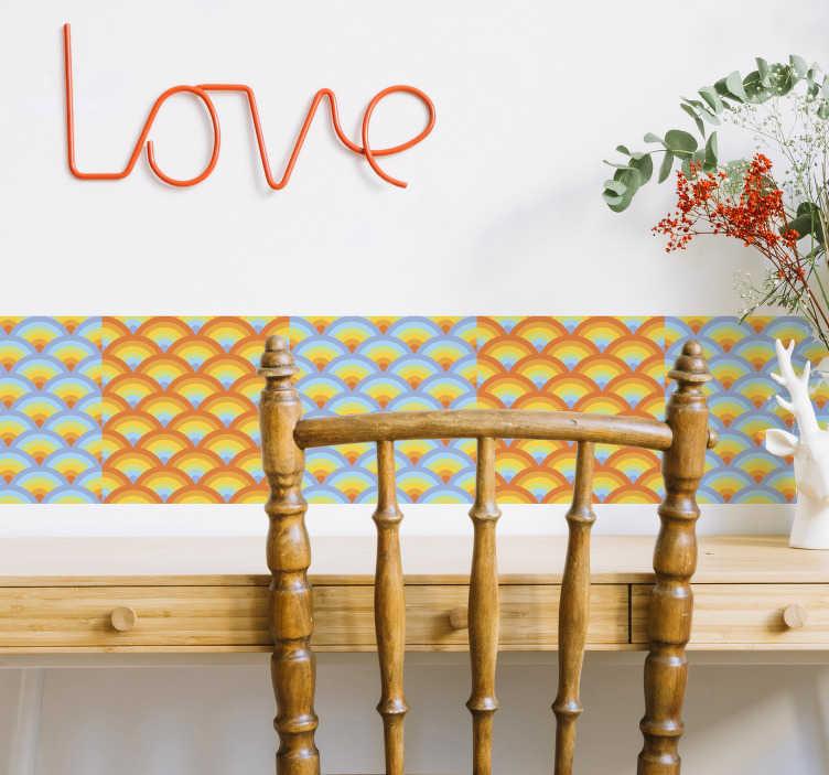 TenVinilo. Vinilo cenefa caleidoscopio. Cenefa adhesiva moderna y colorida con figuras geométricas ideales para decorar cualquier estancia de tu casa.