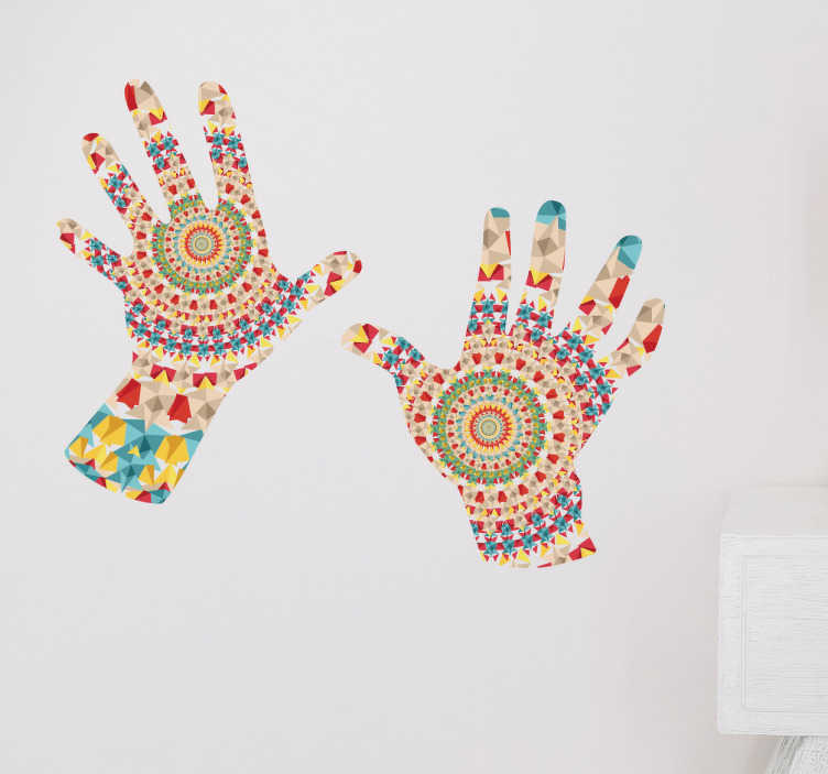 TenVinilo. Vinilo manos caleidoscopio. Pegatinas para la decoración del hogar con la representación de dos manos impresas con una textura tipo mandala psicodélico.