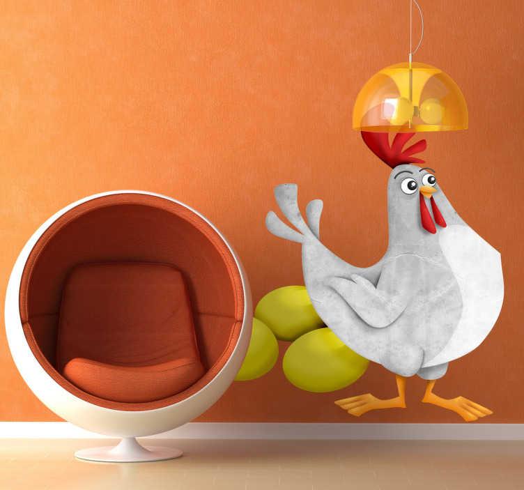 TenStickers. Naklejka kura i złote jajka. Naklejka dekoracyjna, która przedstawia białą kurę i trzy duże złote jaja. Naklejka inspirowana klasyczną bajką o kurze znoszącej złote jaja.