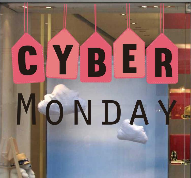 TenStickers. Adesivo Cyber Monday. Sticker sponsorizzante il cyber Monday, composto da bandierine rosse e semplice scritta nera