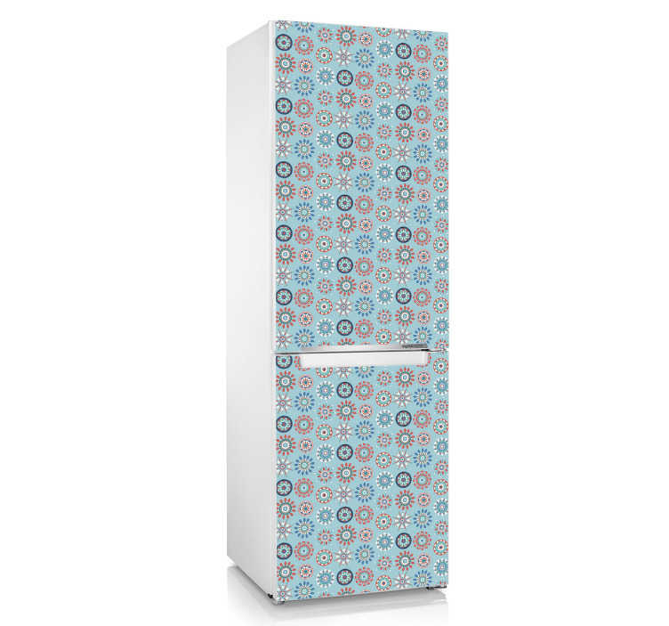 TenVinilo. Vinil caleidoscopio heladera. Personaliza las puertas de tu frigorífico con un vinilo adhesivo con una textura con formas geométricas.