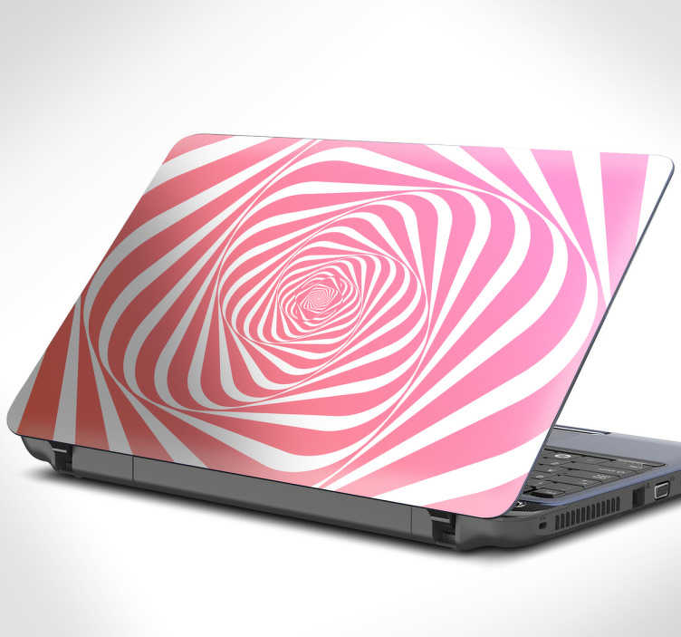 TenStickers. Adesivo spirale caleidoscopica per pc. Sticker per pc a trama caleidoscopica nei toni del rosa e del bianco, per un design moderno ed economico, mantenendo l'ottima qualitá