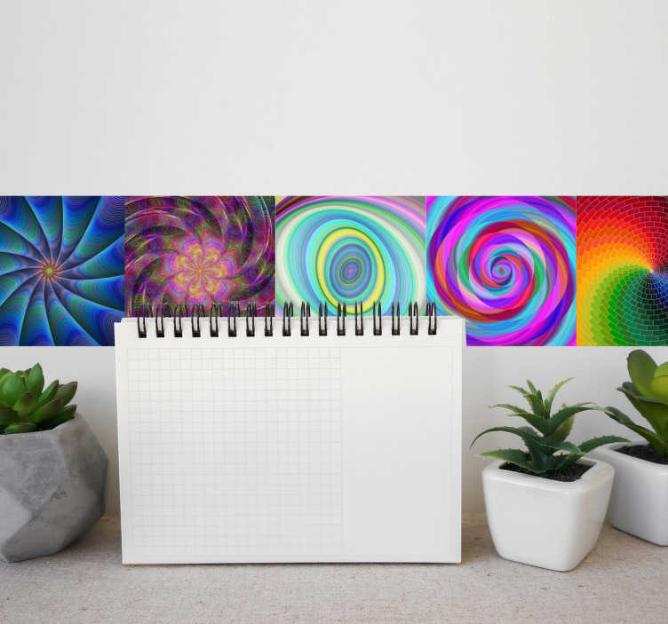 TenStickers. Adesivo azulejo caleidoscópio. Decore as suas paredes com os coloridos adesivos azulejos em estilo caleidoscópio em vários formatos e em várias cores para dar uma energia à sua sala.