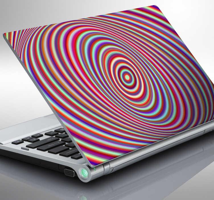 TenStickers. Laptopsticker Psychedelisch. Abgefahrener Laptopaufkleber mit einer Farbspirale. Lässt den Kopf kreisen bei genauerem Hinschauen.