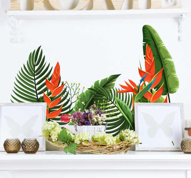 TenStickers. Decorazione adesiva Piante di botanica. Piante botaniche nei colori del verde e dell'arancio disegnate per un adesivo murale dal design esclusivo e dettagliato.