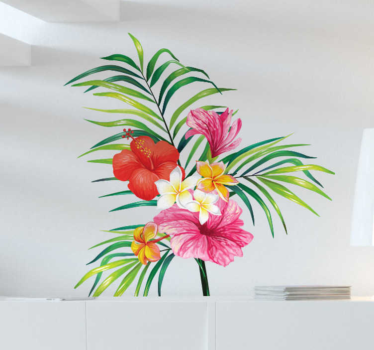 TenVinilo. Vinilo decorativo botánica. Decora tu pared con vinilos adhesivos originales conla representación en este caso de una planta tropical y bonitas flores.