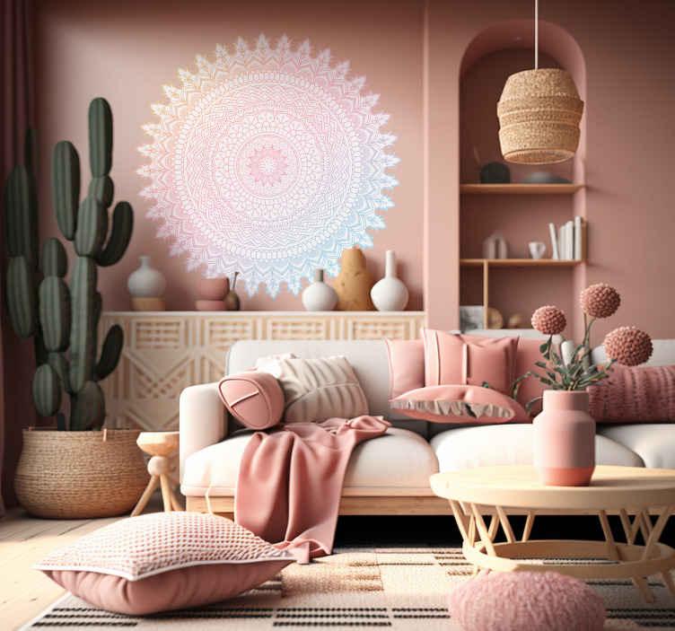TenStickers. Mandala indiano adesivo psichedelico. Adesivo psichedelico mandala d'ispirazione indiana, stampato su sfondo bianco , dalle figure e dai colori caleidoscopici.