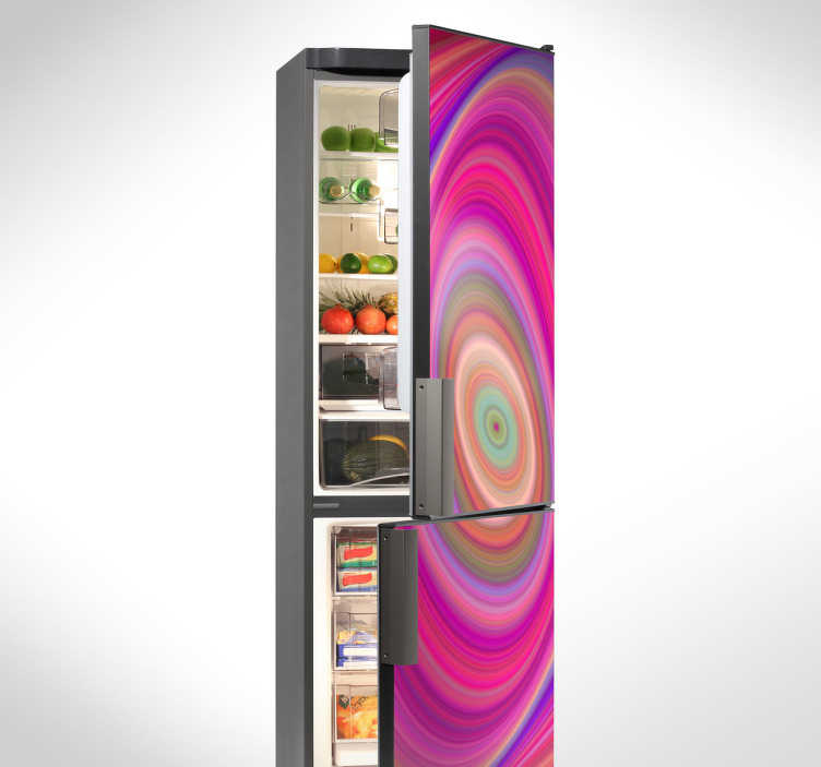 TenStickers. Koelkast sticker roze spiraal. Keuken sticker waarmee je op een opvallende en originele manier de deuren van je koelkast kunt decoreren met caleidoscopisch design.