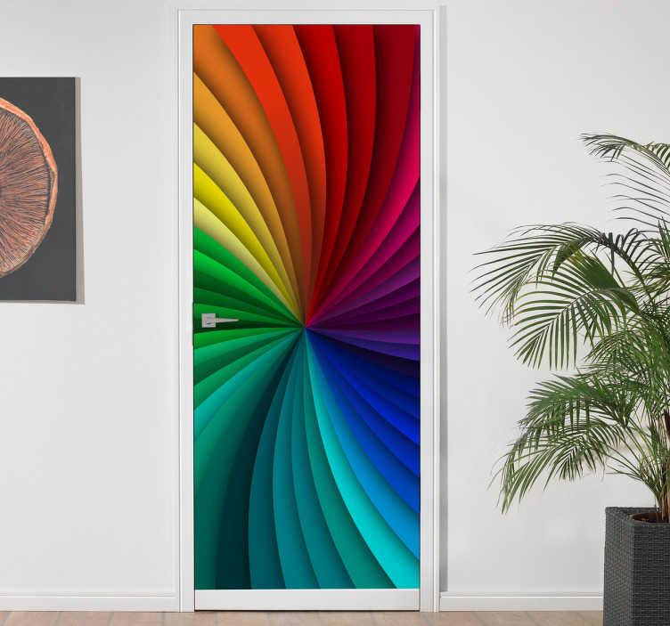 TenStickers. Deursticker kaleidoscoop kleuren. Decoreer de deur met dit kleurrijke originele design. De deursticker bestaat uit een swier van kleuren die in elkaar overlopen met kaleidoscoop effect.