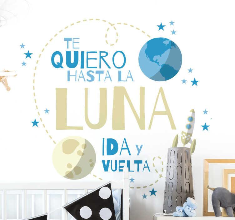 TenVinilo. Vinilo infantil luna ida y vuelta. Vinilos decorativos infantiles para vestir las paredes del cuarto de los más pequeños de casa con un lindo diseño.