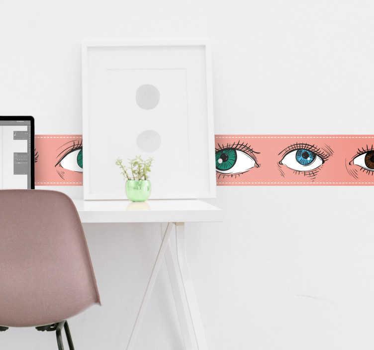 TenStickers. Greca adesiva pellicola occhi. Greca adesiva, che crea un originale effetto. Soluzione economica, originale e di semplice applicazione.
