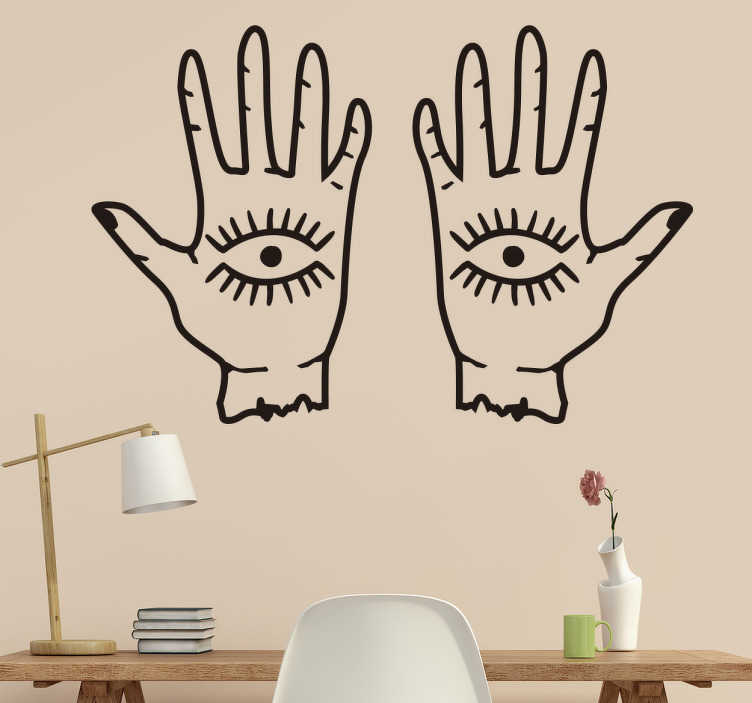 TenStickers. Muursticker ogen en handen. Een mysterieus en opvallend ontwerp dat beschikbaar is in de door u gewenste maat en in een grote verscheidenheid aan matte afwerkingskleuren.
