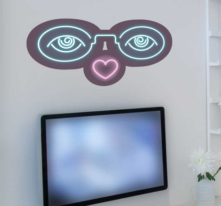 TenStickers. Sticker lunettes néon. Sticker représentant des lunettes illuminées façon néon. Ajoutez une touche originale aux murs de votre salon.