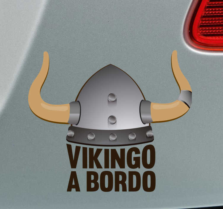 TenVinilo. Vinilo Vikingo a bordo. Pegatinas para coche originales para remarcar que en tu vehículo viaja un pequeño salvaje vikingo.