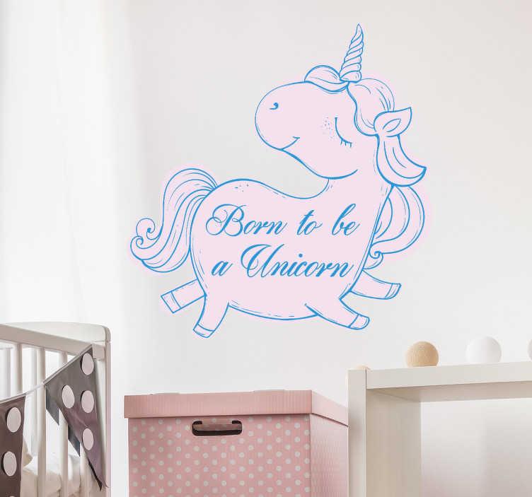 """TenStickers. Wandtattoo Einhorn Text. Süßes Wandtattoo mit einem Einhorn und Text """"Born to be a unicorn"""". Tolle Dekorationsidee für das Kinderzimmer."""