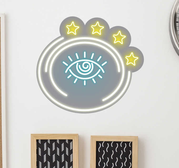 TenStickers. Adesivo occhio neon. Adesivo rotondo occhio e 4 stelle in colori luminosi