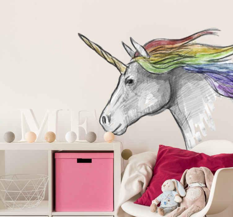 TenVinilo. Vinilo decorativo unicornio dibujado. Vinilo de pared con un bonito dibujo de la cabeza un unicornio con su cuerno mágico y su pelo de colores del arcoíris.