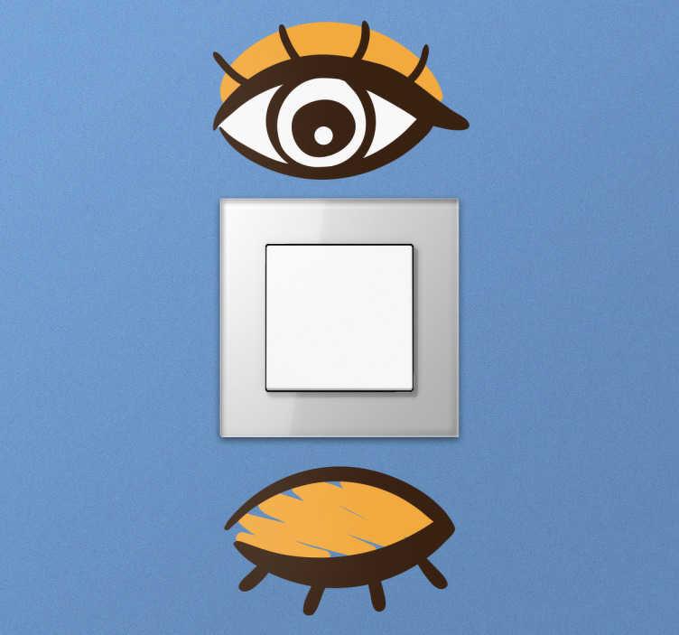 TenStickers. Øjne stikkontakt wallsticker. Sjov wallsticker med motiv af lukket og åbent øje til at huske når hvornår lyset er tændt eller slukket. En smart dekorativ reminder til hverdagen.
