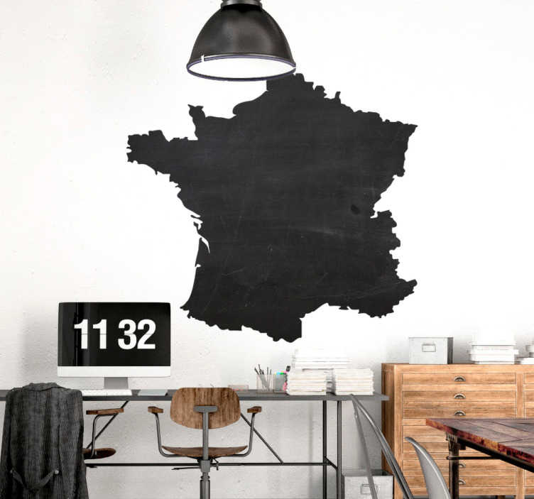 TenStickers. Krijtbordsticker silhouet Frankrijk. Krijtbordsticker met het silhouet van de kaart van Frankrijk. Een perfecte muursticker om elke kamer in het huis of kantoor te decoreren.