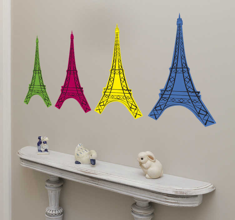 TenStickers. Vinil Torre Eiffel pop art. Este moderno adesivo decorativo com a torre Eiffel no estilo pop art, com 4 replicas da Torre Eiffel em verde, rosa, amarelo e azul.