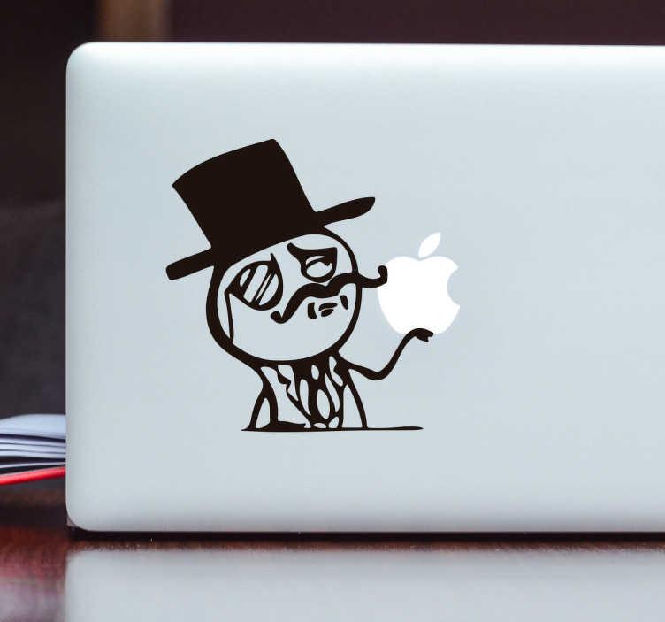 TenVinilo. Vinilo portátil meme alta clase. Pegatinas para ordenador con un icono dibujado que representa a un hombre de clase social alta con su bombín y un monóculo. Este vinilo para Mac se adaptará perfectamente al logo de la manzana de tu portátil o cualquier otro dispositivo.
