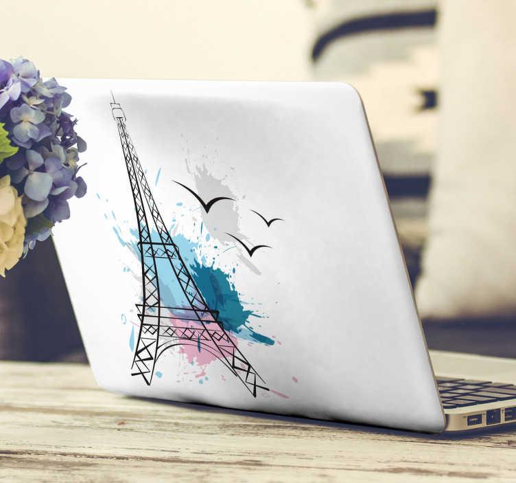 Tenstickers. Läppäritarra Eiffelin torni. Läppäritarra Eiffelin torni. Kaunis tietokoneen tarra, jossa on Eiffelin torni ja splash-kuvioita sinisellä, pinkillä ja harmaalla.