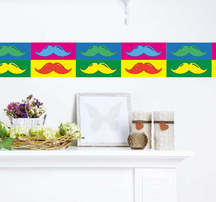 TenStickers. Pop art movember sticker. Kantbånd wallsticker med motiv af overskæg, firkantet i forskellige farver. Flot dekorativt klistermærket til værelset eller køkkenet.