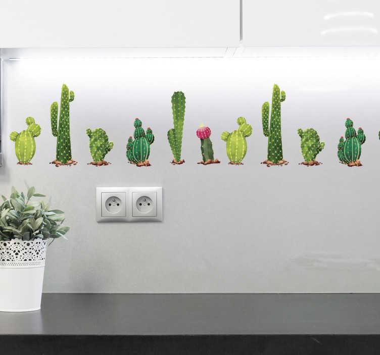 TenStickers. Adesivo decorativo com vários catos. Este vinil contém catos de diferentes tamanhos e formas, com diversos tons de verde como é possível observar na imagem.