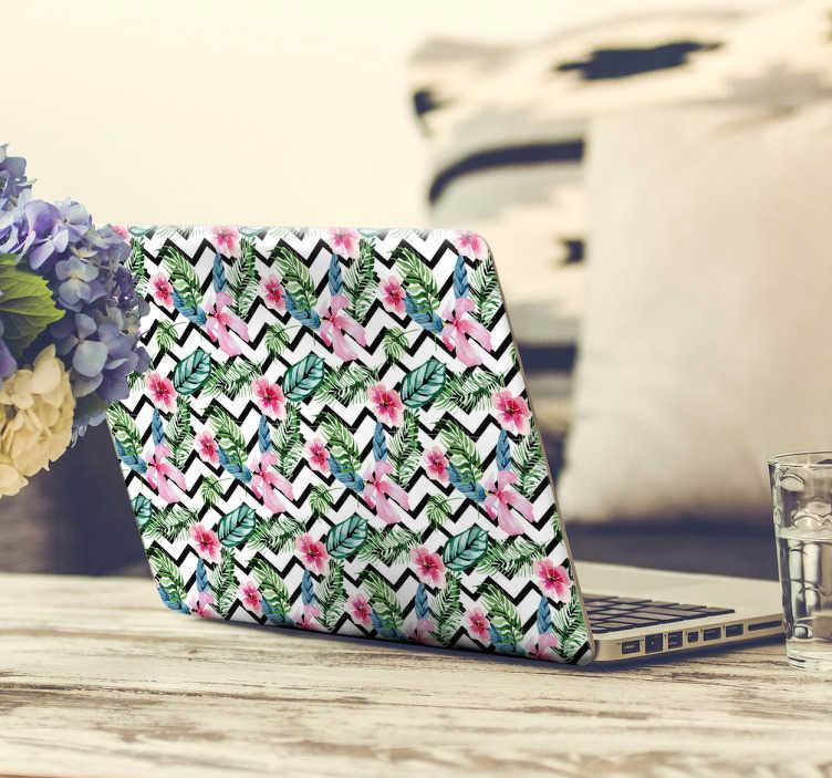 TenStickers. Adesivo cover pc fiori tropicali. Cover adesiva protettiva per laptop con fiori tropicali e zigzag vianchi e neri