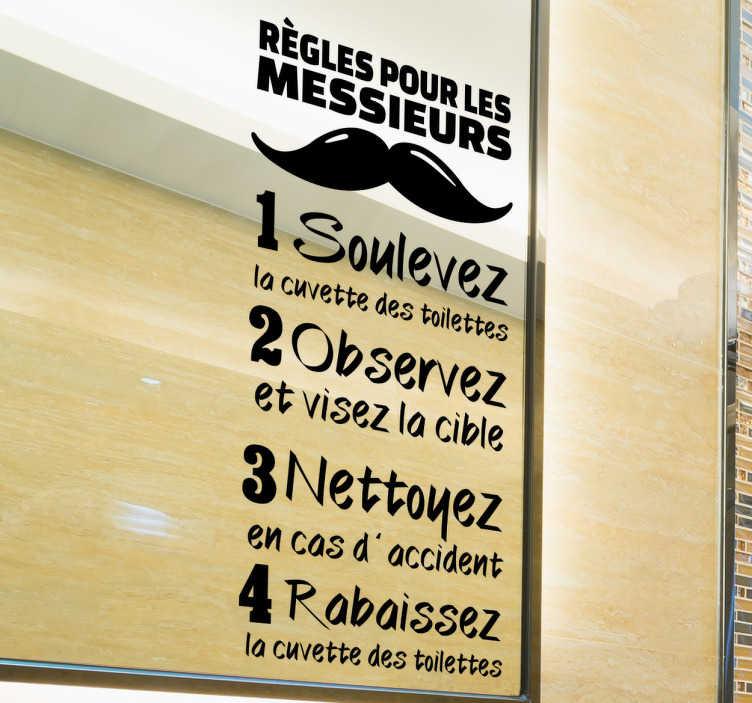 TenStickers. Sticker texte règles toilette. Découvrez notre sticker amusant rappelant les règles pour ces messieurs à observer dans les toilettes. Un moyen fun et original de se faire entendre.