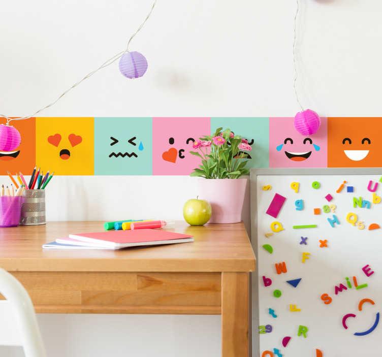 TenVinilo. Cenefa juvenil pared emoticonos. Cenefas juveniles pared con una representación de distintas caras basadas en los iconos de whatsapp.