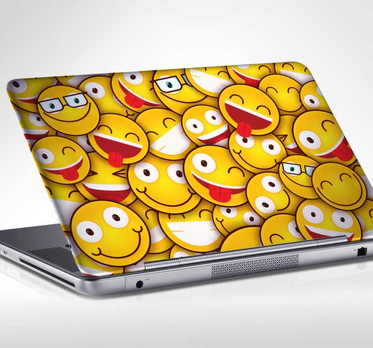 TenStickers. Laptop sticker vrolijke emoticons. Laptop sticker vol met allemaal vrolijke smileys, in dit geval op basis van de pictogrammen in WhatsApp. Voor een wat minder serieuze draai.