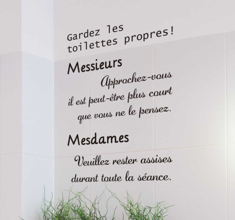 Sticker Texte Toilettes