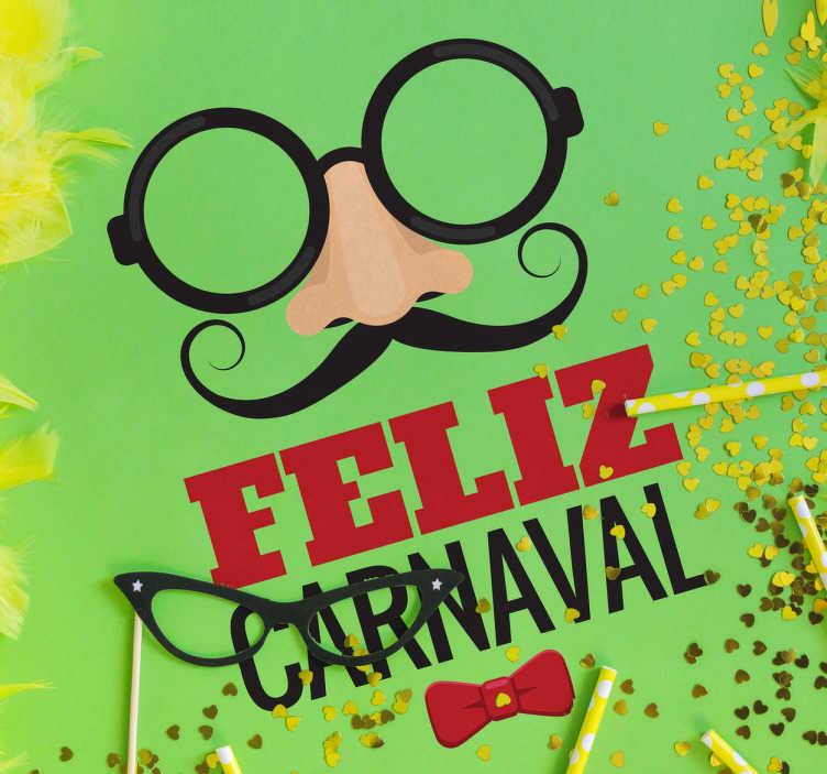 TenVinilo. Vinilo decorativo feliz carnaval. Vinilos carnaval, pensados para decorar el escaparate de tu tienda y promocionar esta fiesta popular de disfraces y diversión.